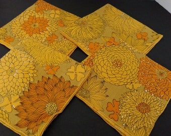 Vintage set of four linen napkins very Mod yellow and orange Zinnia and Daisy flower print
