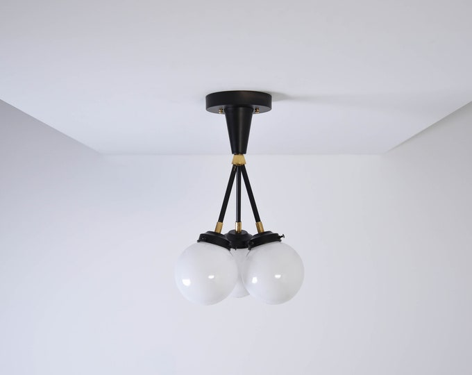 Irvine Semi Flush [Black & Brass - Mid Century - Modern - Industrial - Candelabra - Glass Globe - Triple Light - UL Listed]