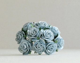 25mm Dusk Blue Paper Roses - 10 mulberry paper roses wire stems [168]