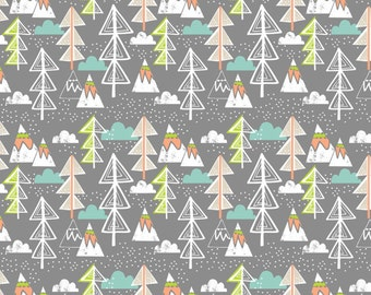 Artic Tree Grey by Maude Asbury - Trees, Clouds, Mountains - The Snow Day Collection - Blend Fabrics - 1 -  One Yard Fabric