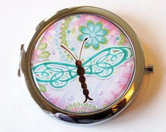 Dragonfly compact mirror, mirror, purse mirror, compact mirror, double sided mirror, gift for her, dragonfly mirror, pink, turquoise (2000)