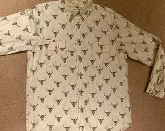 Vintage Barn Fly Trading Rodeo Western Longhorn Men's Shirt