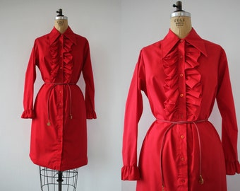 vintage 1970s dress / 70s shirt dress / 70s ruffled shirt dress / 70s tuxedo ruffle dress / 70s red shirt dress / large