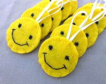 10 smiley face ornaments, have a nice day smile decorations, yellow happy faces, lemon yellow felt emoticon hangers, get well gift grin