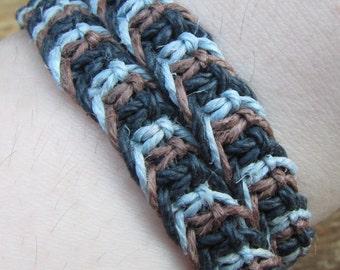 Blue, Black, and Brown Tri Color Hemp Choker / Wrap Around Bracelet