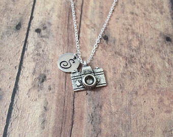 Camera initial necklace - camera jewelry, photographer jewelry, silver camera pendant, photographer necklace, camera necklace, silver camera