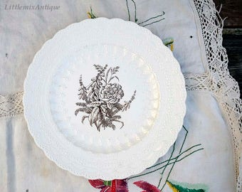 Vintage Spode Jewel Copeland England  'Heath and Rose' pattern large dinner plate. Dated October 1964 Retro English Tableware Display Plate
