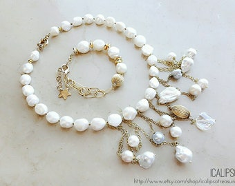 Pearl jewelry set, Mothers day gift, bridal jewelry, boho jewelry, gift for mom, statement jewelry, anniversary gift for her, wife gift