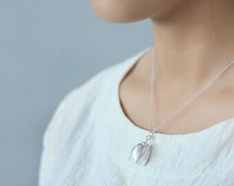 Silver Magnolia Necklace; Flower Pendant Necklace; 925 Sterling Silver Necklace; Flower Bud Necklace; Handmade Necklace; Magnolia Pendant