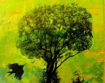 Original Encaustic- Tree and Bird in Green