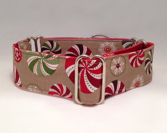 1.5 inch or 2 inch Martingale Collar, Candy Snowflakes Holiday Martingale Collar, Greyhound Martingale Collar, Dog Martingale Collar