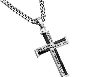 """Cable Cross Necklace  """"I Know"""""""