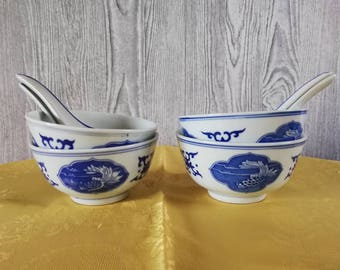 4 Chinese bowls with spoons