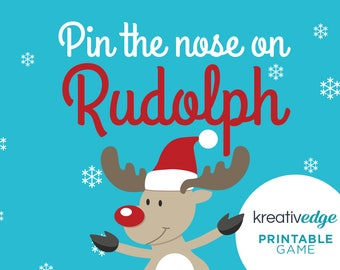 PIN THE NOSE on Rudolph the Reindeer - Christmas Party Game, Kids Christmas Game, Rudolph Game, Childcare Party Game, End of Year Game