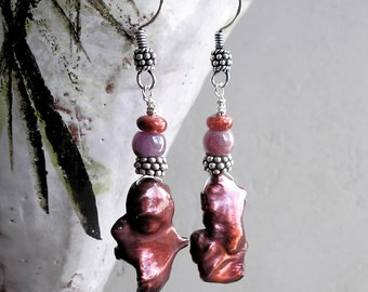 Red Pearl Earrings Ruby Spiny Oyster Birthstones Metaphysical Healing Stones