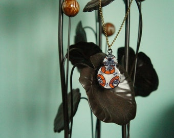 BB-8: Hand Drawn Shrink Plastic Necklace