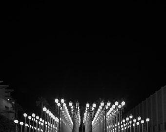 black and white photography, LA Photography, Urban Light, Living Room Art, LACMA, black and white, photo print, night photography