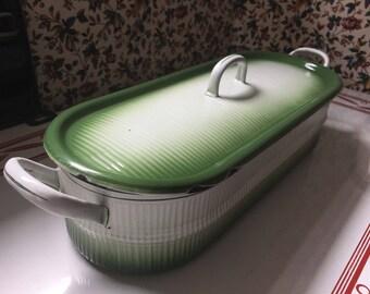 Fish Poacher Steamer Planter for Succulents 1930's Ribbed Green White  Enamelware Graniteware Long Lidded Container Box Vintage European