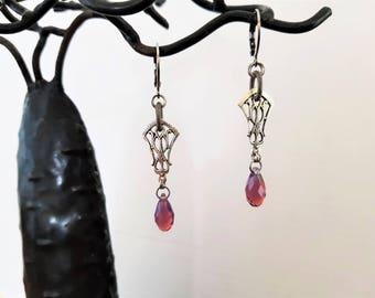 Small Stud Earrings retro antique silver / purple - swarovski cyclamen opal crystal drop