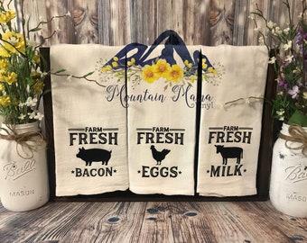 3pc Flour Sack Towel Set - Farm Animals - Farm Fresh - tea towels - country
