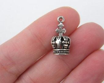 BULK 20 Crown charms antique silver tone CA43