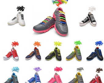 TOTOMO Elastic Silicone No Tie Shoelaces for Kids & Adults - 13 Colors
