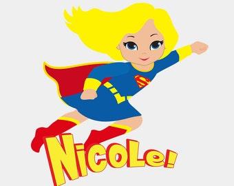 Personalized Name - Girl Super Hero - Supergirl- Bodysuit or T-Shirt
