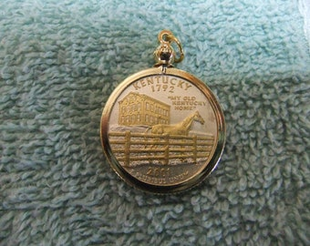 Coin Bezel Pendant Kentucky Statehood Quarter Jewelry - Gold and Silver Necklace Pendant
