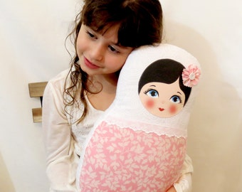 "Babushka matryoshka softie plush doll pillow gift, large, 42cm/16.5"" tall, light pink and white"