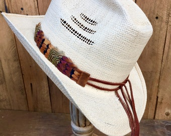 Cowboy feather hat band on deerskin with ties - natural pheasant feathers in brown and green