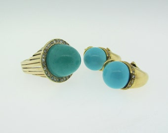 Turquoise and Diamond Ring and Earrings Set