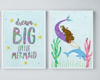 Under The Sea Art, Kids Art Set, Mermaid Watercolor Art, Kids Ocean Art, Mermaid Kids Room, Dream Big Art Print, Baby Shower Mermaid Gift