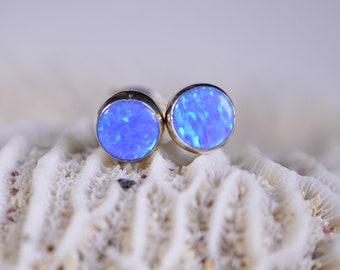 Light Blue Opal Stud Earrings  Post Earrings Gemstone Jewelry Birthstone October