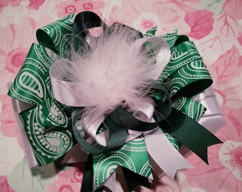 Green and White Paisley Over-The-Top Hair Bow Hairbow