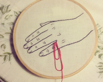 "Red String of Fate Hands - Embroidery Art 5"" hoops"