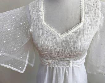Vintage 1970s Boho Chic White Long Maxi Dress // Jody T of California // Size Small // Empire Waist Gauzy Sleeves Smocked Bodice // Wedding