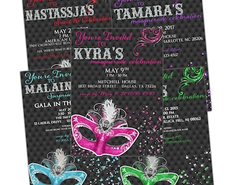Masquerade Invitation | Printable OR Professionally Printed | Customized | Quinceañera | Sweet 16 | Mardi Gras | 5 Colors To Choose From