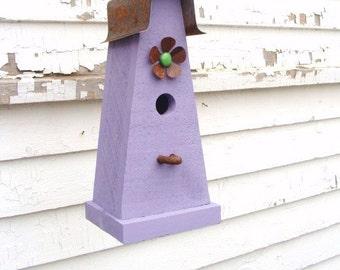 Rustic Decorative Birdhouse Wooden Bird House Cottage Functional Birdhouse Lavender