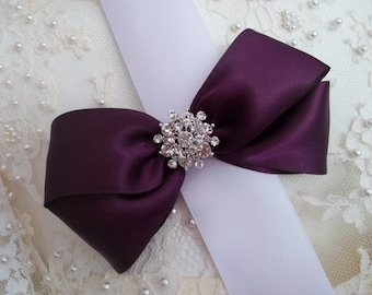 """Eggplant Satin Hair Bow 5"""" with Rhinestone Center, Dark Purple Flower Girl Hair Bow, Bridesmaid Satin Hair Bow, Wedding, Pagent Hair Bow 5"""""""
