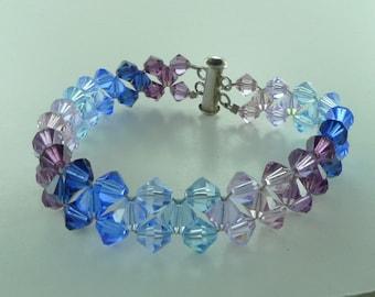 Swarovski Crystal Woven Bracelet Sterling Silver - Blue & Purple Chevron