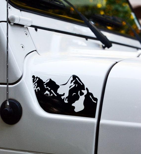 Jeep wrangler tj hood mountains decal 2pc set