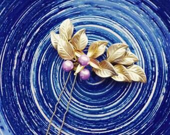 Hairpin, Gold Hairpin, Gold hair accessories, Hair decor, Accessories for hair, Gold petals,Gold leaves, Bridal hair piece, Purple hairpin