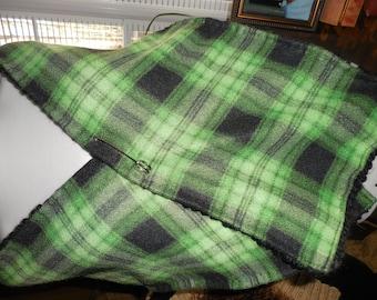 Cape...  Stole..Reverible...Black yarn...Plaid Flannel...Winter Warm...Wrap.. Scarf.. Knit Cape...Jubejubeknits !!