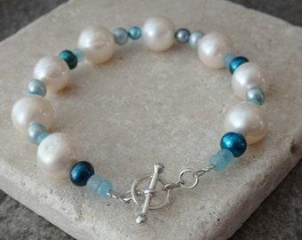 Freshwater Pearl Bracelet, Pearl Bracelet, Blue Pearls, White Pearls, Contemporary Pearls, Pearl Jewellery