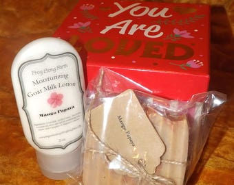 Valentine's Day Gift Box Set- Handmade Goat's Milk Soap & Lotion- Choose Your Fragrance
