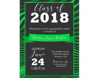 Graduation Party Invitation Green, Green Graduation Invitation Printable, Graduation Invitation Green, Green Graduation Party Invite