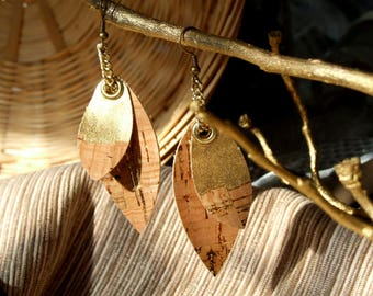 Gilded Cork Double Leaf Chain Dangle Earrings