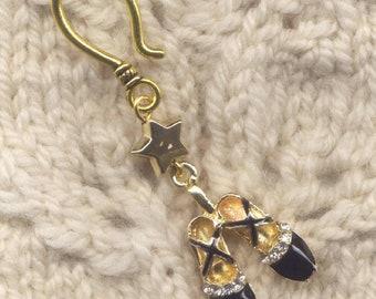 Black Satin Ballet Slippers Progress Keeper Hook rhinestone bling Single/SM285
