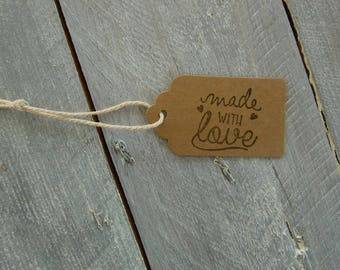 Set of 10 tags in box: Made with love