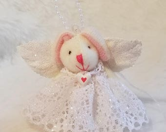 YoungloveBunnies Angel Bunny Ornament - White Cotton Lace